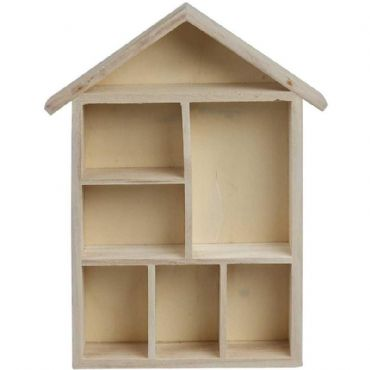 House shaped shelf display unit